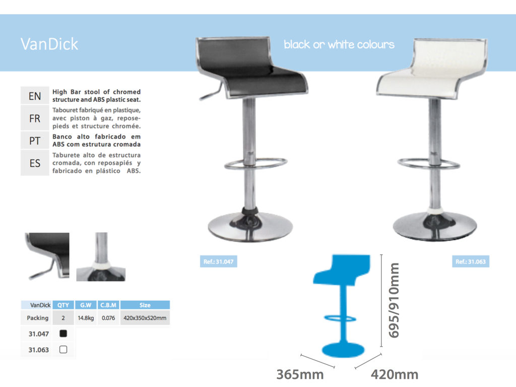 Tabouret de bar vandick location soli 39 expo for Location stand exposition
