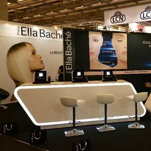 Impression textile habillage total des cloisons stand for Cloison stand salon
