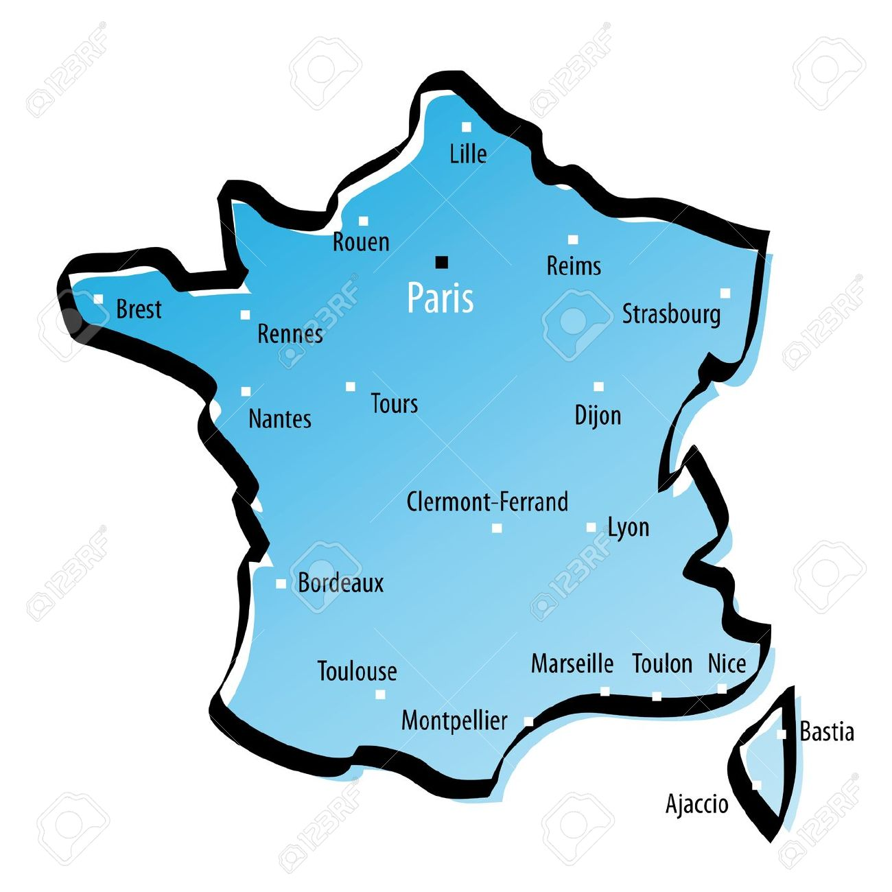 12120011 Carte Stylis E De La France Avec Les Grandes