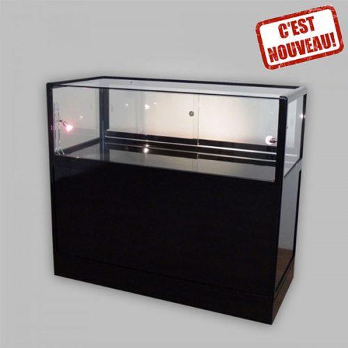 COMPTOIR VITRINE TOP Présentoir-produits-vitrine-noire-verre-stand-exposition-Soliexpo