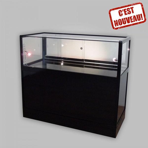 comptoir vitrine top pr sentoir produits vitrine noire verre stand exposition soliexpo soli 39 expo. Black Bedroom Furniture Sets. Home Design Ideas